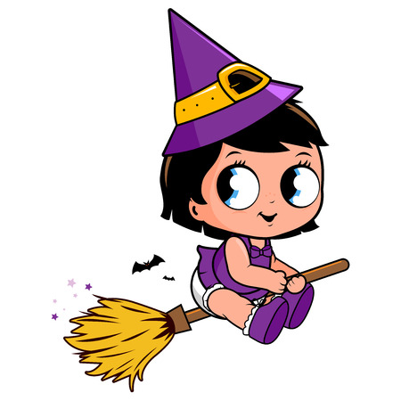 Baby Halloween witch flying with a magic broom