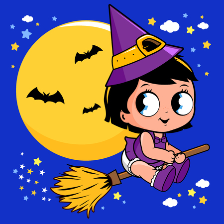 Baby Halloween witch flying with broom in the night sky