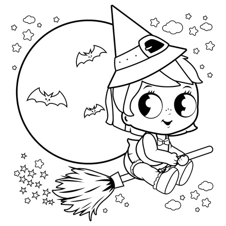 Baby Halloween witch flying with broom in the night sky. Black and white coloring book page Illustration