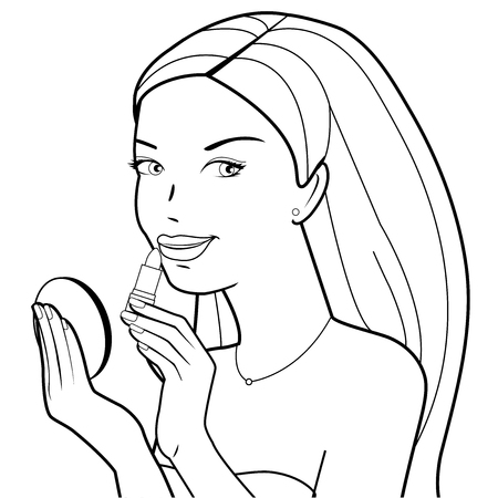A beautiful young woman putting on her lipstick. Vector black and white illustration Illustration