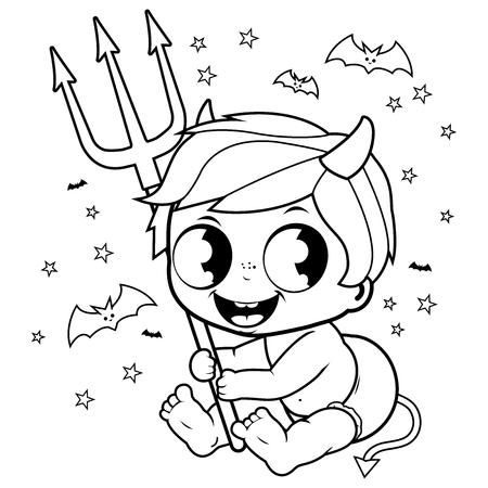 Cute baby boy in Halloween devil costume. Black and white coloring book page