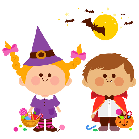 Vector Illustration of a girl and a boy in Halloween costumes, playing trick or treat. Illustration