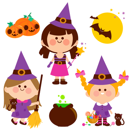 Children dressed in Halloween witch costumes. Vector Halloween collection