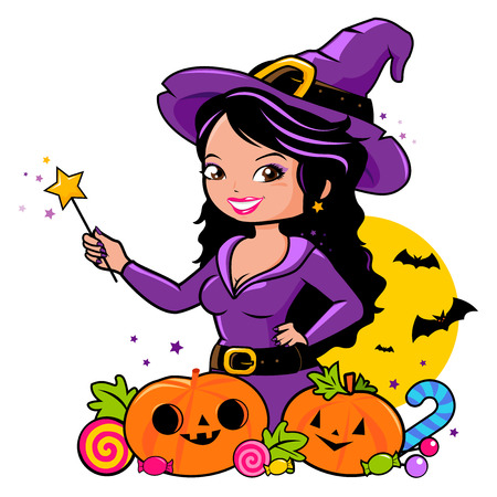 Halloween witch holding her magic wand, pumpkins and candy.