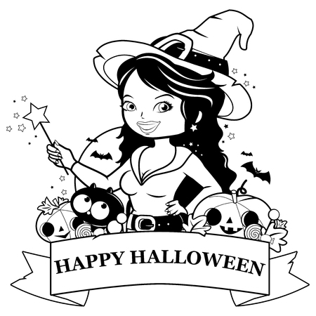 Halloween witch, pumpkins and treats. Black and white coloring book page