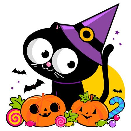 Halloween black cat, pumpkins and treats