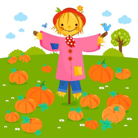 Rural landscape with pumpkin field and a scarecrow. Vector illustration Ilustración de vector