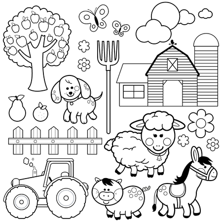 Farm animals vector illustration collection. Black and white coloring book page