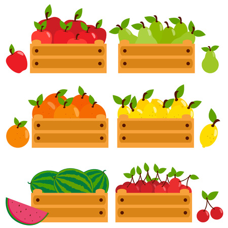 Fruits in wooden crates, apples, pears, lemons, cherries, oranges and watermelons.