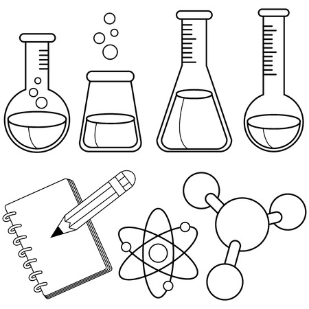 Science and chemistry set. Black and white coloring book page