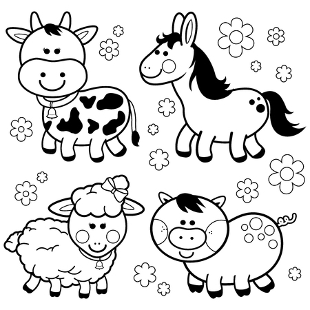 Collection of farm animals: A cow, a horse, a sheep and a pig. Black and white coloring book page Ilustração