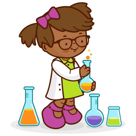 Girl making science experiments