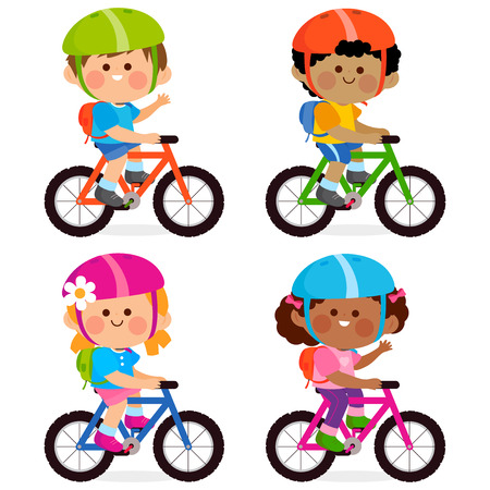 Children riding bicycles and wearing their helmets and backpacks. Illustration