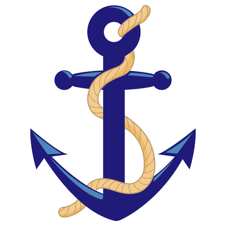 Nautical anchor with rope. Vector illustration