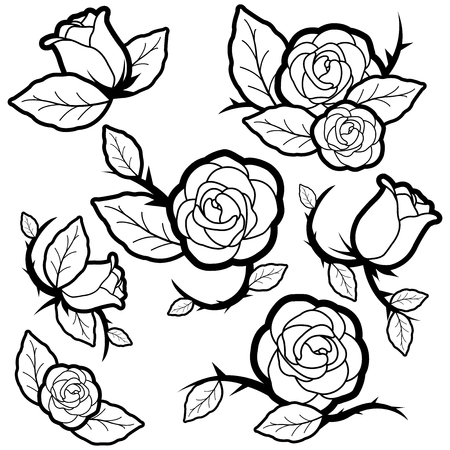 Vector black and white illustration set of tattoo style roses and buds.