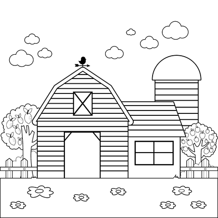 Landscape with barn, farmhouse, fence and orchard trees. Black and white coloring book page