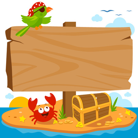 Wooden signpost on a deserted pirate island landscape with treasure chest, parrot and a crab.
