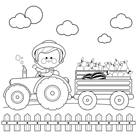 Farmer at the farm driving a tractor and carrying fruits. Black and white coloring book page