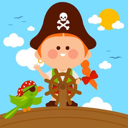 Capitaine de fille pirate naviguant sur un bateau avec volant et un perroquet. Illustration vectorielle