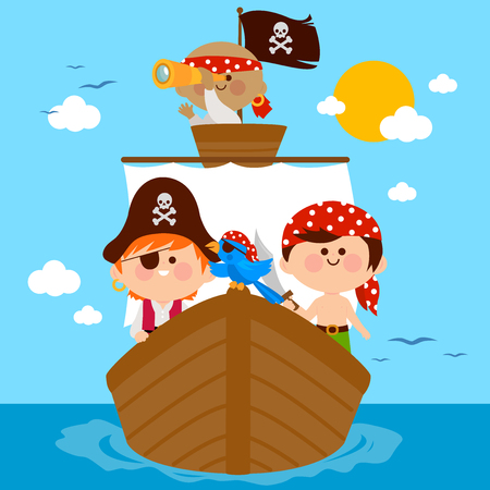 Pirate boys and a parrot sailing on a ship. Vector illustration Illustration