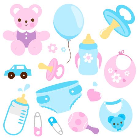 Accessoires bébé fille et bébé garçon aux couleurs bleu et rose. Illustration vectorielle