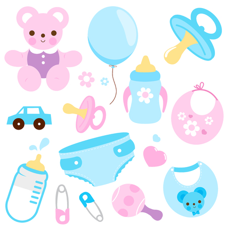 Baby girl and baby boy accessories in blue and pink colors. Vector illustration