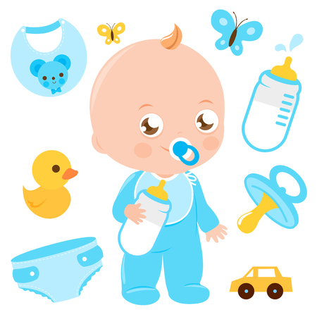Baby boy and baby shower accessories in blue colors. Vector collection.