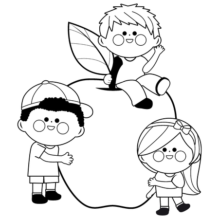 Children and apple. Black and white coloring book page