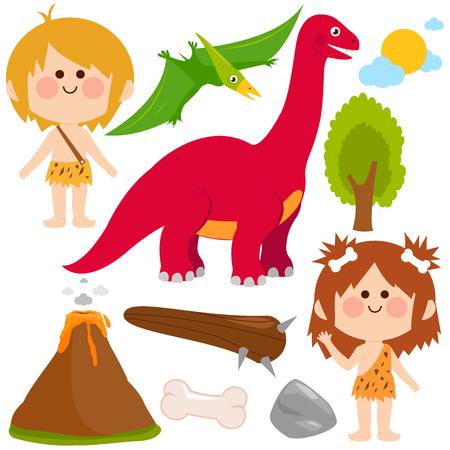 Prehistoric vector set with children cavemen, dinosaur, rocks, volcano and primitive weapons. Vector illustration