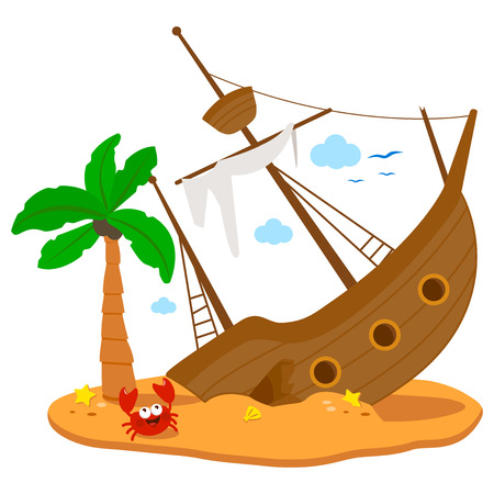 Shipwreck on an island. Vector illustration
