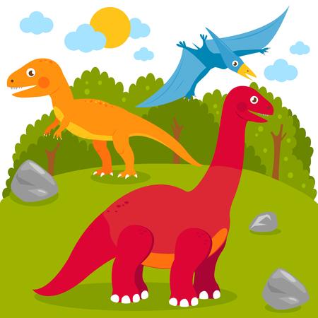 Paisaje prehistórico con dinosaurios: pterodáctilo, Brontosaurio, apatosaurio, tiranosaurio. Ilustración vectorial