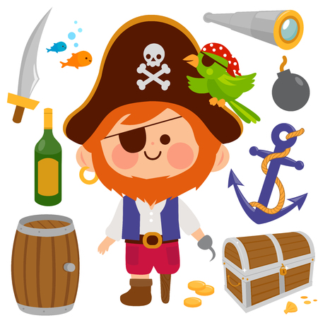 Vector set of a bearded pirate captain with a hook and a wooden leg and other pirate theme illustrations. Illustration