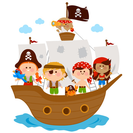 Pirate children, boys and girls sailing on a ship. Vector illustration Illustration