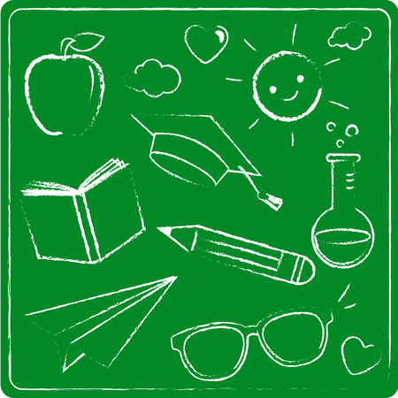 School themed illustrations drawn with chalk on a green chalkboard. Vector illustration
