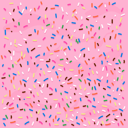 Pink cream frosting with colorful sprinkles. Vector background illustration 矢量图像