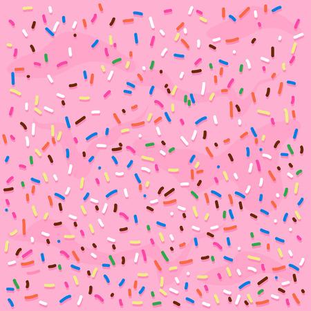 Rosa Creme-Zuckerguss mit bunten Streuseln. Vektorhintergrundillustration