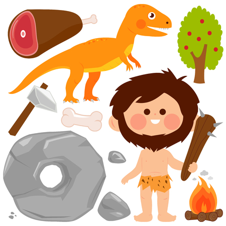 Prehistoric vector set with caveman, dinosaur, rocks, wheel and primitive weapons. Vector illustration