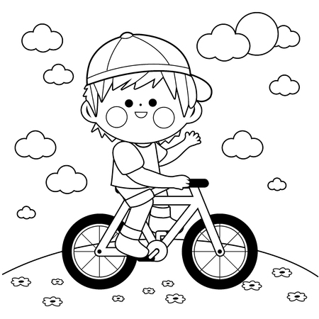 Boy riding a bicycle at the park. Black and white coloring book page Illustration