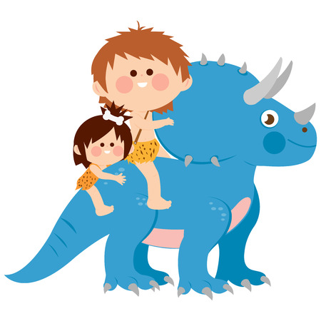 Two cavemen children, a boy and a girl riding a triceratops dinosaur. Vector illustration Illustration