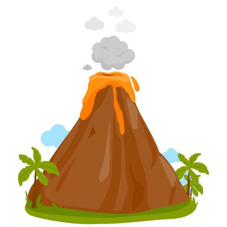 Vector illustration of a volcano erupting. Illustration