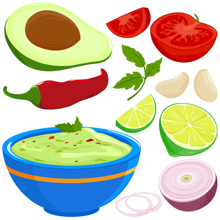Ingredients for guacamole and bowl of avocado guacamole dip. Vector illustration Illustration