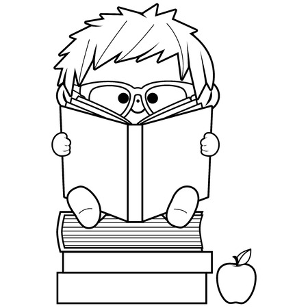 A child sitting on a stack of books and reading. Vector black and white coloring book page