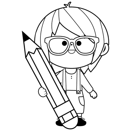 Little boy student holding a big pencil. Vector black and white coloring book page