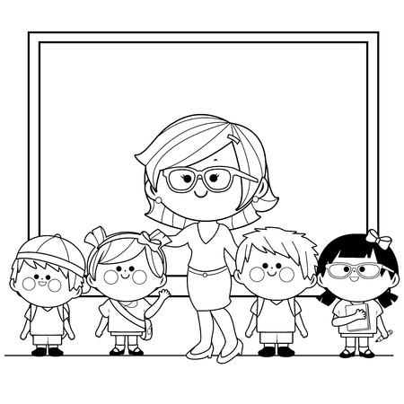Teacher and students at class. Black and white coloring book page Illustration