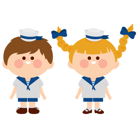 A girl and a boy dressed in nautical sailor outfits. Vector illustration Illustration