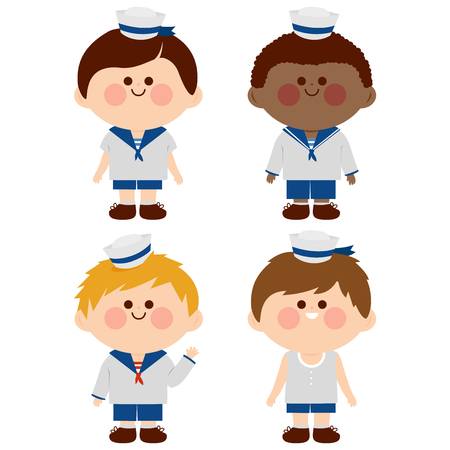 Diverse children dressed in nautical sailor outfits. Vector illustration