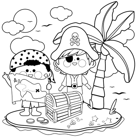 Pirates on treasure island. Black and white coloring book page