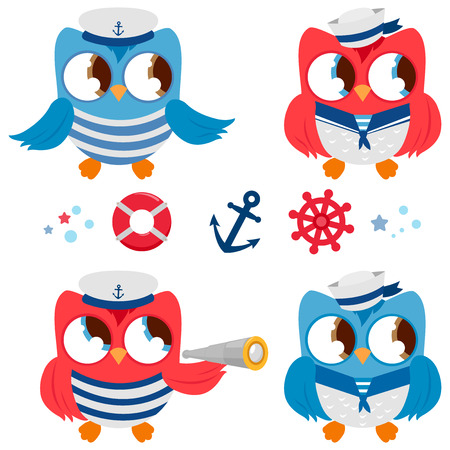 Nautical set of sailor owl birds. Vector illustrations. Illustration