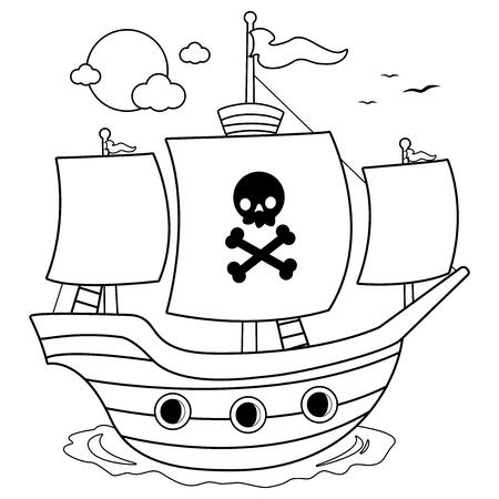 Navire pirate. Page de livre de coloriage noir et blanc