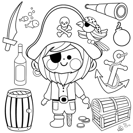 Pirate captain vector set. Black and white coloring book page Illustration